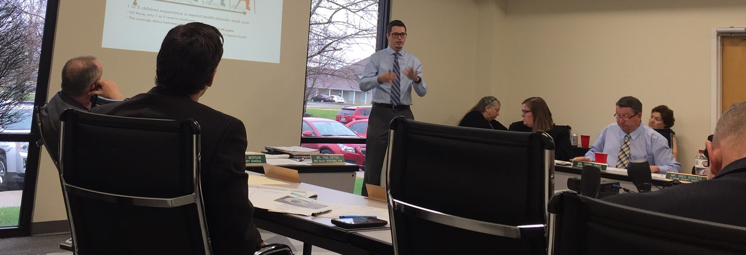 Chris Sweigart presenting to the OVEC Board on School Mental Health